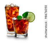 glass with cola and ice cubes... | Shutterstock . vector #98676050