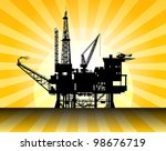 oil rig in sea and sunrise ...   Shutterstock .eps vector #98676719
