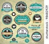 vintage frame with food... | Shutterstock .eps vector #98682929
