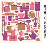 a set of kitchen items in pink  ... | Shutterstock .eps vector #98682938
