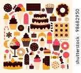 a set of dessert icons in brown ... | Shutterstock .eps vector #98682950
