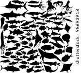 74 Vector Silhouettes Of Fish...