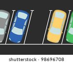 parked cars on the parking. one ... | Shutterstock . vector #98696708