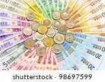 Closeup Of Euro Coins And...