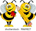 Cute Bees holding an Apple for the Teacher and a Pencil, Vector - stock vector