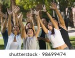 people waiting to catch an... | Shutterstock . vector #98699474