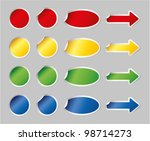 multicolored vector stickers set | Shutterstock .eps vector #98714273