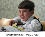 smiling schoolboy with alphabet | Shutterstock . vector #9872731