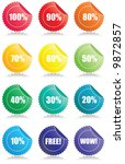 set of 12 glossy sales tags... | Shutterstock .eps vector #9872857