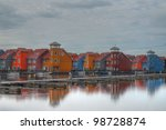 colorful residential area on waterfront - stock photo