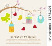 Greeting with a baby elements. Vector illustration. | Shutterstock vector #98751308