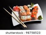 japanese sushi seafood | Shutterstock . vector #98758523