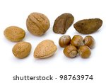 mixed whole unshelled nuts including almond, walnut, brasil and hazel - stock photo