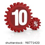 one percent icon made with two red cogwheels and the number 10 - stock photo