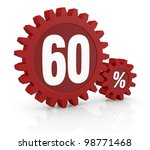 one percent icon made with two red cogwheels and the number 60 - stock photo