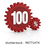 one percent icon made with two red cogwheels and the number 100 - stock photo
