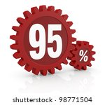 one percent icon made with two red cogwheels and the number 95 - stock photo