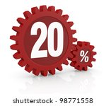 one percent icon made with two red cogwheels and the number 20 - stock photo