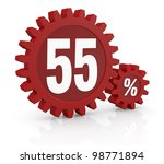 one percent icon made with two red cogwheels and the number 55 - stock photo