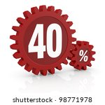 one percent icon made with two red cogwheels and the number 40 - stock photo