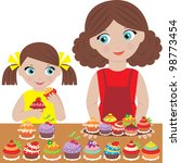 mother with the daughter bake... | Shutterstock .eps vector #98773454