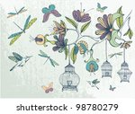 hand drawn floral background... | Shutterstock .eps vector #98780279