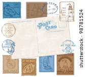 postcard with retro sea stamps  ... | Shutterstock .eps vector #98781524