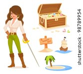 Cute Illustrations With Pirate...