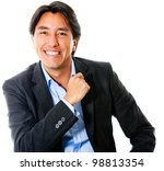Casual business man smiling - isolated over a white background - stock photo