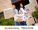happy family moving house and... | Shutterstock . vector #98814038