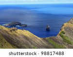 Beautiful Easter Island in the South Pacific, with Birdman Island - stock photo