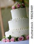 white multi level wedding cake... | Shutterstock . vector #98828489
