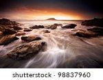 Beautiful Sunrise at Australian Beach - stock photo
