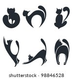 Stock vector vector collection of stylized cats silhouettes 98846528