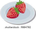 strawberry with stem    Shutterstock .eps vector #9884782