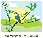birdie on a blossoming branch | Shutterstock .eps vector #98850230