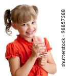 school girl portrait with water ... | Shutterstock . vector #98857388