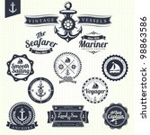 set of vintage retro nautical... | Shutterstock .eps vector #98863586