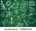 biology sketches on school...   Shutterstock .eps vector #98889698