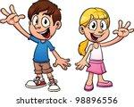 cute cartoon kids waving hello. ... | Shutterstock .eps vector #98896556