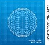 Sphere Blueprint. Vector...