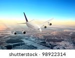 modern airplane  in the sky... | Shutterstock . vector #98922314