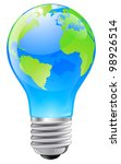 Illustration of an electric light bulb with a world globe. Conceptual illustration - stock photo