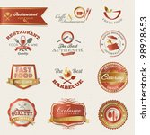 restaurant labels and elements | Shutterstock .eps vector #98928653