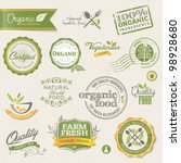 organic food labels and elements | Shutterstock .eps vector #98928680