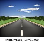 country highway into the... | Shutterstock .eps vector #98932550
