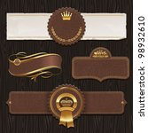 Vector set of leather & golden framed labels