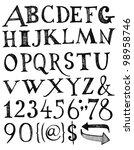 vector alphabet. hand drawn... | Shutterstock .eps vector #98958746