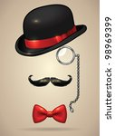 vintage silhouette of bowler ... | Shutterstock .eps vector #98969399