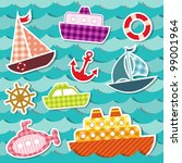 set of sea transport stickers.... | Shutterstock .eps vector #99001964